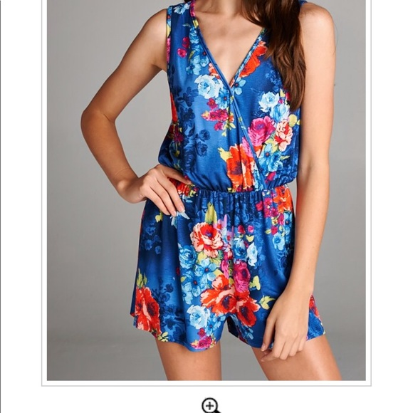 085e81419fed Blue Floral Print Plus Size Rompers!!!